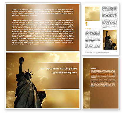 America: Liberty Statue Word Template #07160