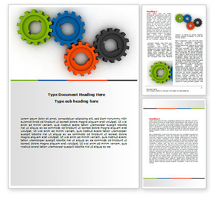 Colorful Gears Word Template, 07191, Consulting — PoweredTemplate.com