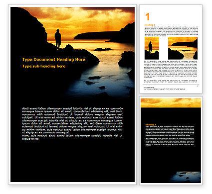 Nature & Environment: Sunset Beach Word Template #07211