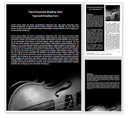 Art & Entertainment: Dark Violin Word Template #07219