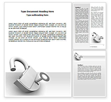 Unlocked Padlock Word Template, 07266, Consulting — PoweredTemplate.com