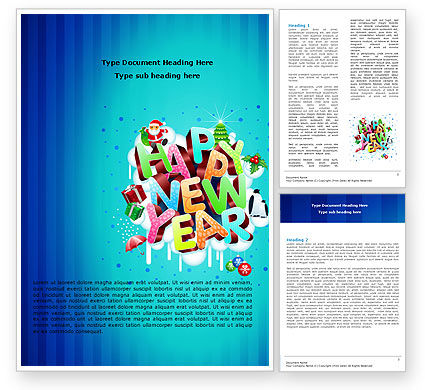 Free New Year Card Word Template, 07282, Holiday/Special Occasion — PoweredTemplate.com