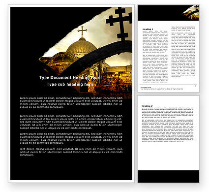 Religious/Spiritual: Byzantine Church Word Template #07296