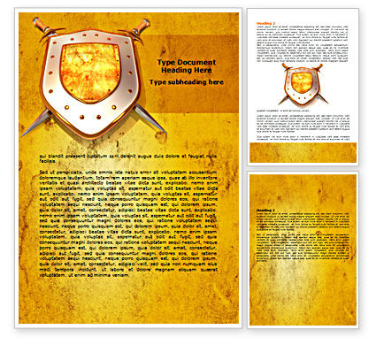 Legal: Shield And Swords Word Template #07298