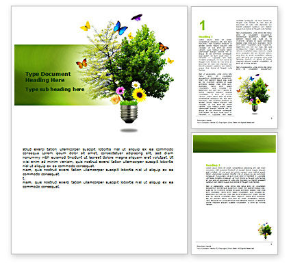 Alternative Green Energy Word Template, 07299, Technology, Science & Computers — PoweredTemplate.com
