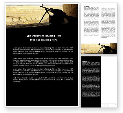 Military: Machine Gun Word Template #07308