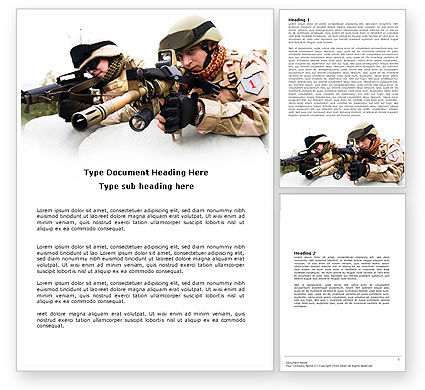 Soldiers In Iraq Word Template, 07321, Military — PoweredTemplate.com
