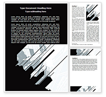 Abstract Skyscraper Theme Word Template, 07344, Construction — PoweredTemplate.com