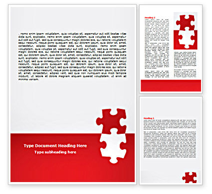 Consulting: Red Puzzelstukjes Word Template #07352