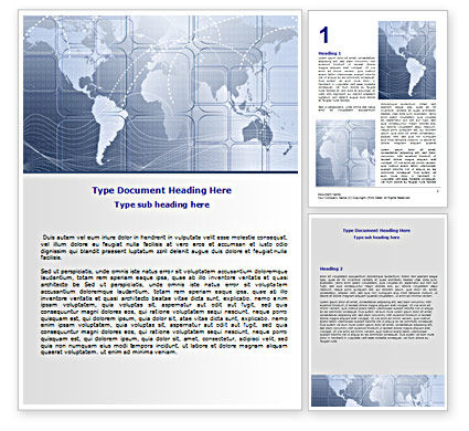 World Communication Routes Word Template, 07365, Careers/Industry — PoweredTemplate.com