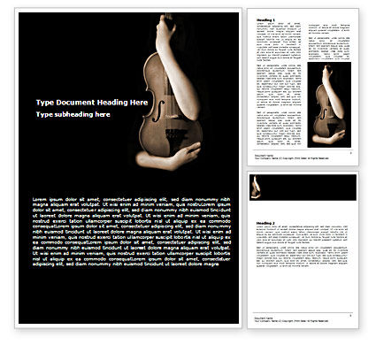 Art & Entertainment: Violin In Lady's Hands Word Template #07373