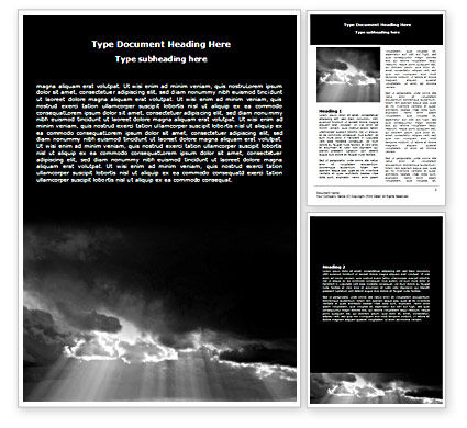 Stormy Clouds Word Template, 07378, Nature & Environment — PoweredTemplate.com