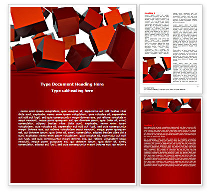 3D Red Cubes Word Template, 07394, 3D — PoweredTemplate.com
