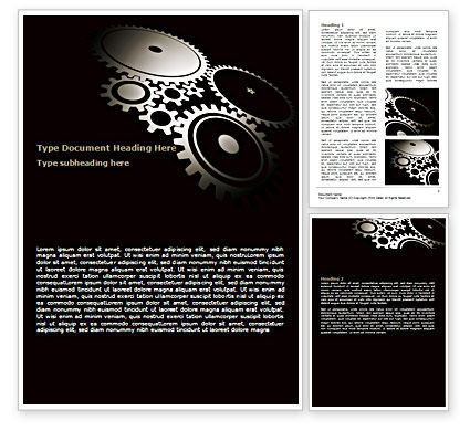 Dark Mechanism Word Template, 07404, Utilities/Industrial — PoweredTemplate.com