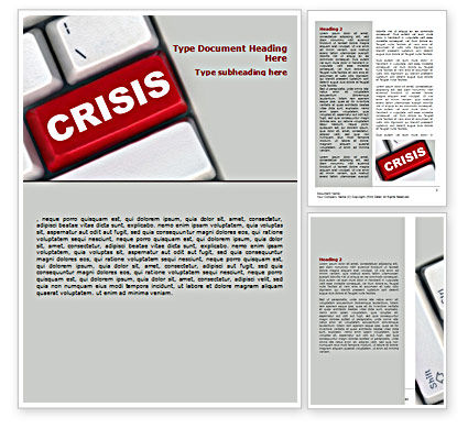 Crisis Button Word Template, 07410, Financial/Accounting — PoweredTemplate.com