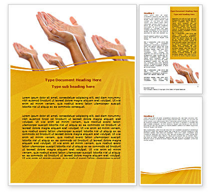 Begging Hands Word Template, 07442, Religious/Spiritual — PoweredTemplate.com