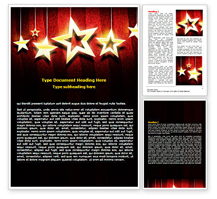 Golden Stars Word Template, 07448, Careers/Industry — PoweredTemplate.com