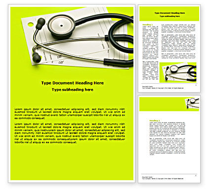 Medical: Phonendoscope With Medical Records Word Template #07449