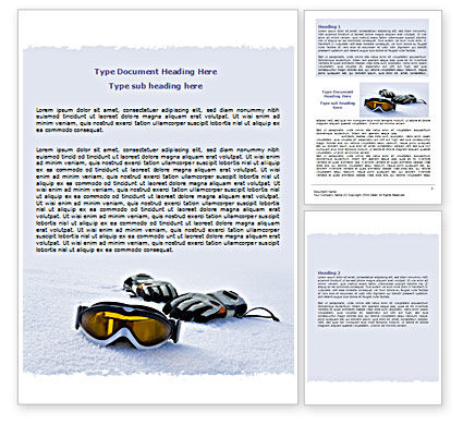 Sports: Sport Goggles Word Template #07452