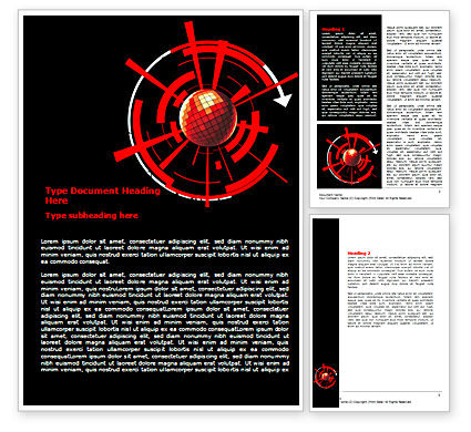 Red Sphere On A Black Background Word Template, 07458, Business — PoweredTemplate.com