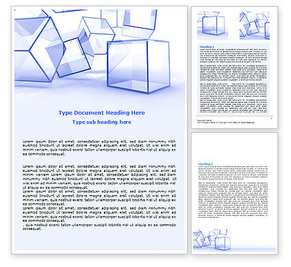 Business: Glass Cube Word Template #07475