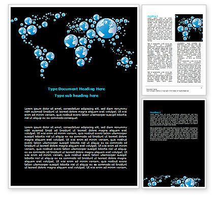 Global: Modelo do Word - bubble mapa do mundo #07485