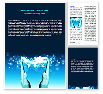 Global: Teal World In Hands Word Template #07487