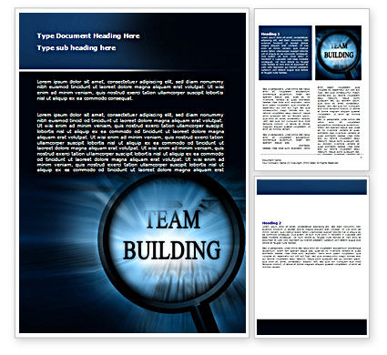 Consulting: Team Building Theme In A Deep Blue Word Template #07488