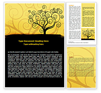 Silhouette Of Tree On The Yellow Background Word Template