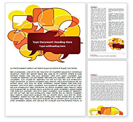 Speech Balloons Word Template, 07509, Telecommunication — PoweredTemplate.com