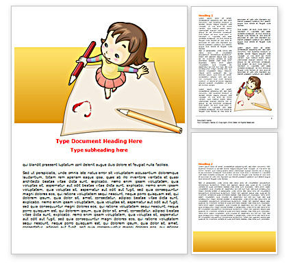 Education & Training: Plantilla de Word - arte para niños #07527