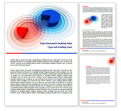 3D Pie Red Blue Colored Diagram Word Template, 07558, Business Concepts — PoweredTemplate.com