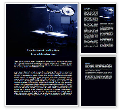 Operation Room In Dark Blue Word Template, 07560, Medical — PoweredTemplate.com