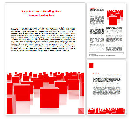 Free Red Cubes Word Template, 07567, Business U2014 PoweredTemplate.com  Free Template Word