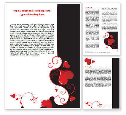 Holiday/Special Occasion: Love Heart Theme Word Template #07573