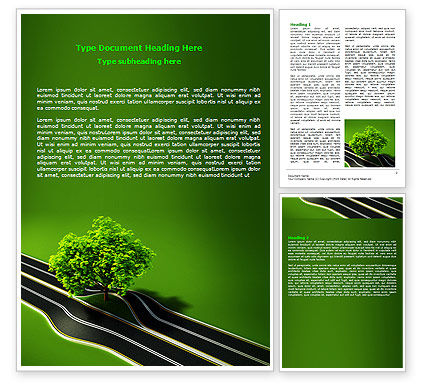 Trees and Roads Word Template, 07581, Nature & Environment — PoweredTemplate.com