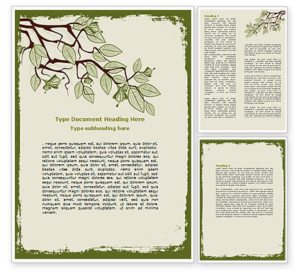 Spring Tree Stick Word Template, 07591, Nature & Environment — PoweredTemplate.com