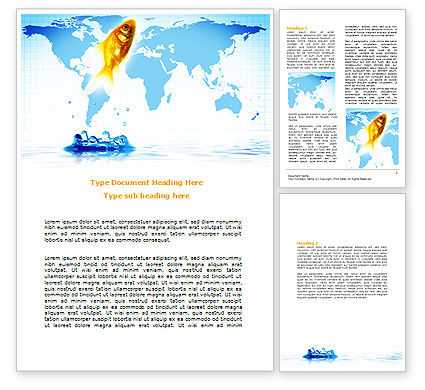 Goldfish Jumping Up Word Template, 07592, Business Concepts — PoweredTemplate.com