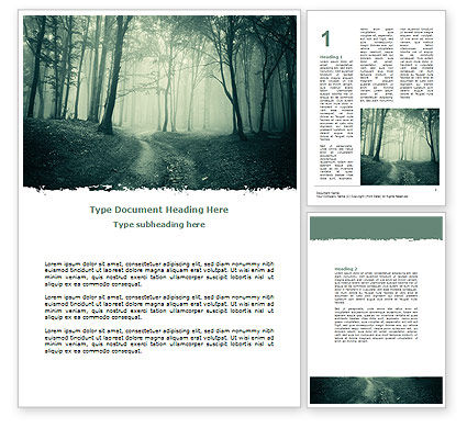 Misty Forest Word Template, 07601, Nature & Environment — PoweredTemplate.com