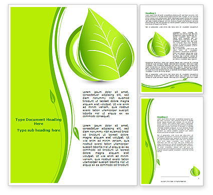 Tender Green Spring Leaf Word Template, 07618, Nature & Environment — PoweredTemplate.com