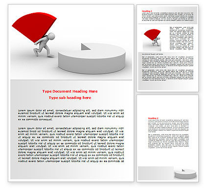 Pie Chart Sector Carried By Man Word Template, 07619, Consulting — PoweredTemplate.com