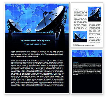 Telecommunication: Parabolic Antennas of Long Range Communication Word Template #07620
