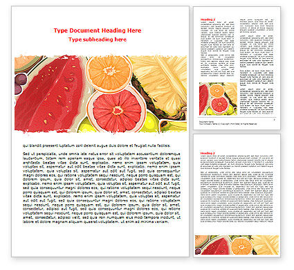 Fruit Pulp Word Template, 07631, Food & Beverage — PoweredTemplate.com