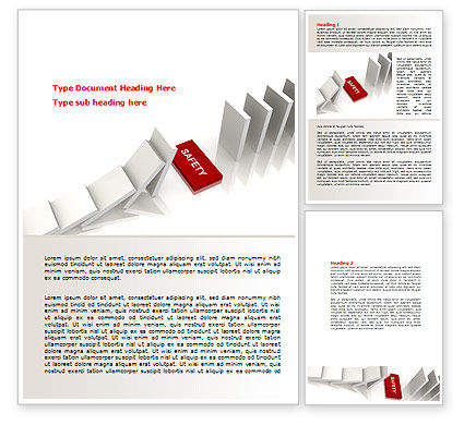 Business Concepts: Safety Domino Theme Word Template #07633