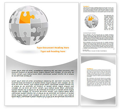 Orange Jigsaw Word Template, 07649, Business Concepts — PoweredTemplate.com