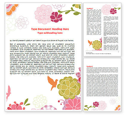 Nature & Environment: Pink Floral Thema Word Template #07650
