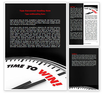 Time to Win Word Template, 07651, Consulting — PoweredTemplate.com