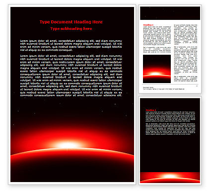 Nature & Environment: Sunset in Space Word Template #07657
