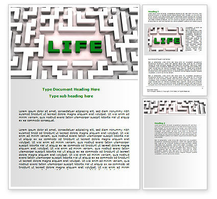 Business Concepts: Labyrinth of Life Word Template #07658