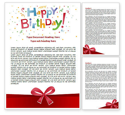 Happy Birthday Bow Word Template 07660 – Birthday Word Template